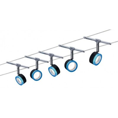 Струнный светодиодный светильник PUCK 5X4W Хром матовый
