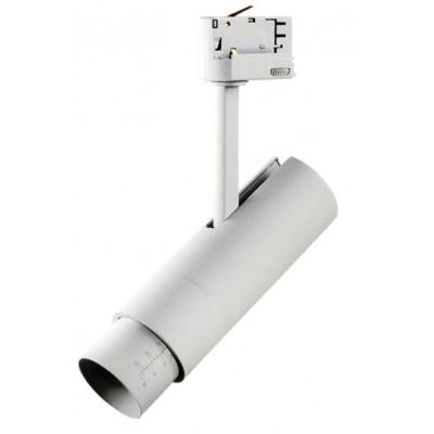 Трековый светодиодный LED светильник для 3х фазной шины15W 5-60G белый 3000K