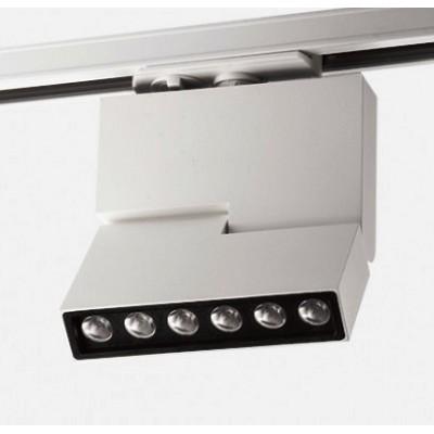Трековый светодиодный LED светильник для однофазного шинопровода 3L 12W 3000k белый корпус