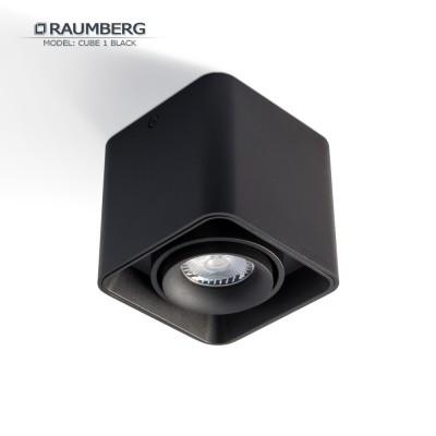 Светильник накладной с поворотной лампой RAUMBERG CUBE 1 GU10 Черный корпус