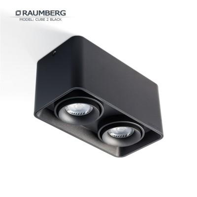 Светильник накладной с поворотной лампой RAUMBERG CUBE 2 GU10 Черный корпус