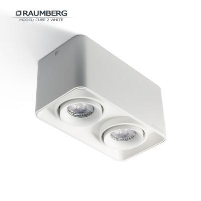 Светильник накладной с поворотной лампой RAUMBERG CUBE 2 GU10 Белый корпус