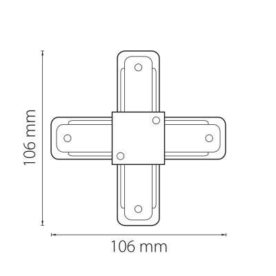 X-образный соединитель для однофазного трека серый