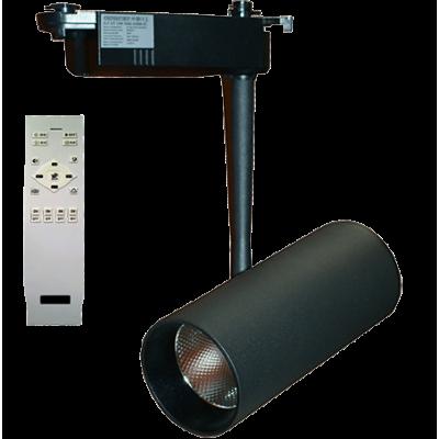 Трековый однофазный светильник с изменяемой цветовой температурой и световым потоком. Черный