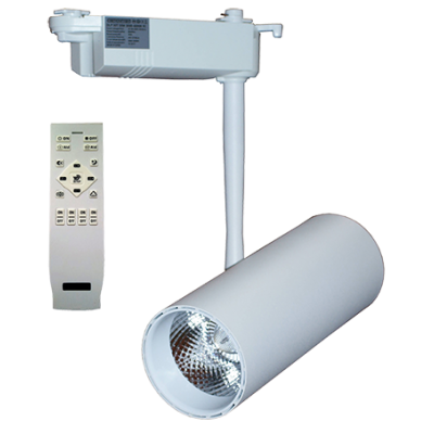 Трековый однофазный светильник с изменяемой цветовой температурой и световым потоком. Белый