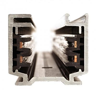 Трехфазный шинопровод 4TRA 2м с токоподводом и заглушкой. Черный